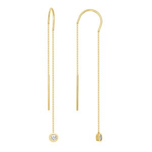 Trendy Lariat Earrings with Diamonds