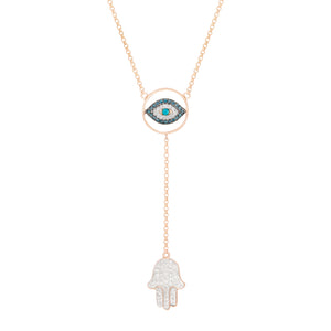 Hamsa and Eye Necklace