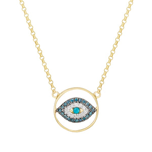 Turquoise Sapphire and Diamond Eye Necklace