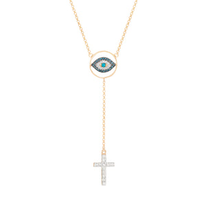 Cross and Eye Necklace
