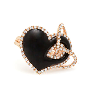 Diamond and Black Onyx Heart Ring