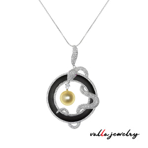 Snake Pendant with Onyx Pear and Diamonds