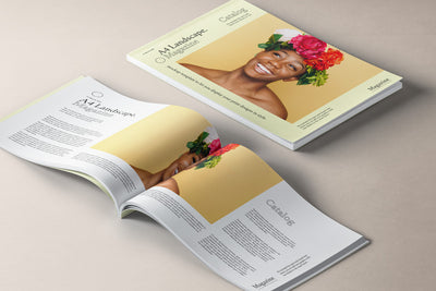 A4 Landscape Magazine Mockup in Isometric View