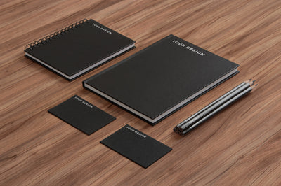 Black and Classic Branding Stationery PSD Mockup