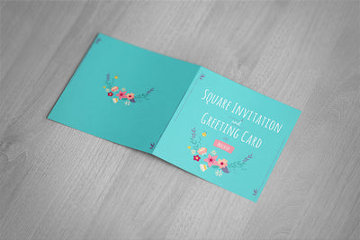 Square Invitation and Greeting Card Mockup Front and Back