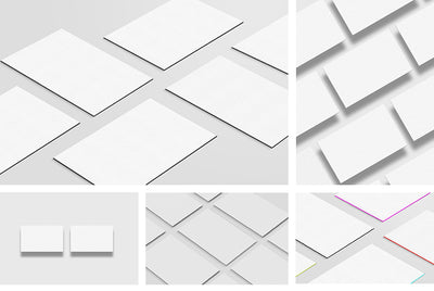 Set of Clean Business Card Mockups Multiple Views