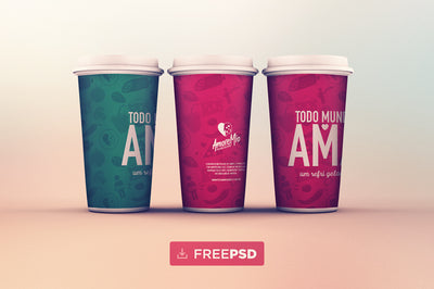 Coffee Cups in Line Mockup