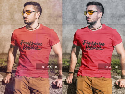 Man with Sunglasses Wearing T-Shirt PSD Fashion Mockup