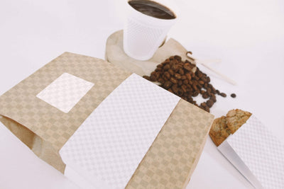 Coffee Bag and Cup Perspective Top View (Mockup)