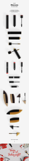 Set of Mascara Cosmetics Mockups