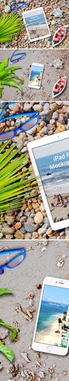 iPhone 6s Plus And iPad Pro On The Beach Mockup
