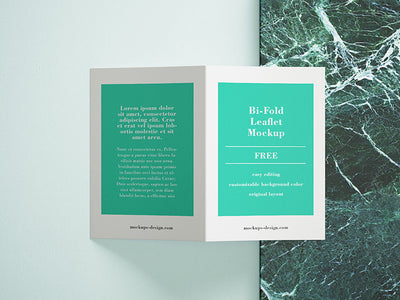 Creative Mockup of Bi-Fold Leaflet Brochure with Marble Rock Panel