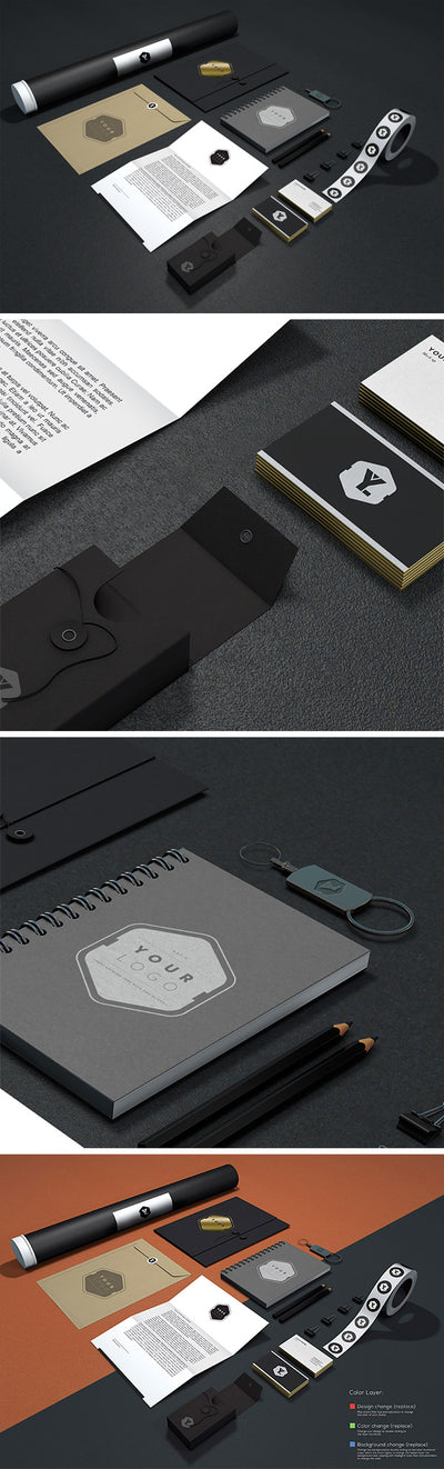 Black Branding and Identity MockUp with Leaflet