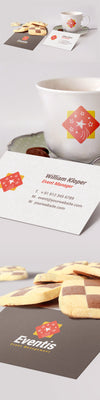 Realistic Business Card And Coffee Cup Scene Mockup PSD