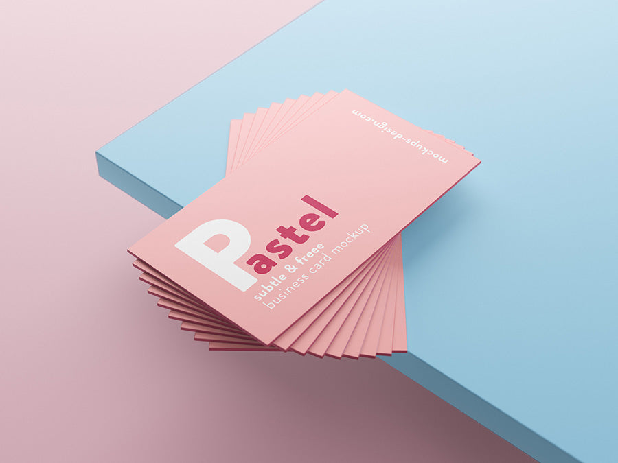 Business Card Pastel Mockups On Table Mockup Hunt