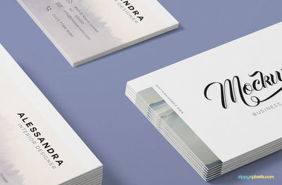 Isometric Business Card Mock Up