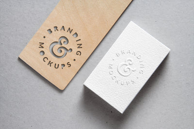 Cutout Wood and White Business Card Mockup