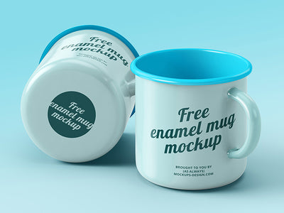 Two Enamel Coffee Mugs Mockups