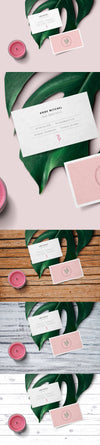 Feminine Business Card Mockup Scene