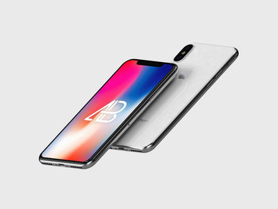 Floating High-Resolution iPhone X PSD Mockup