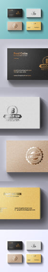 Collection of Foil Business Cards Mockup PSD