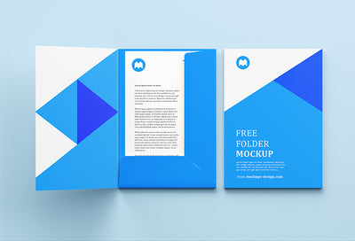 Open and Closed Folder Mockup Includes Cover Page