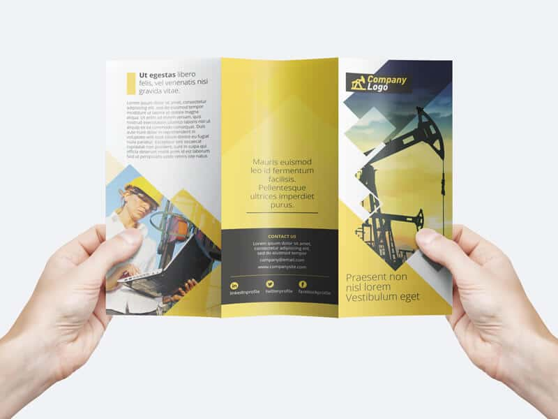 man holding a trifold flyer template mockup hunt
