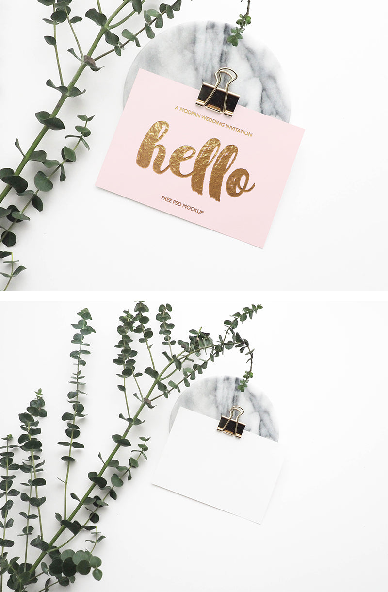 Greeting Card Mockup With Marble Details Mockup Hunt