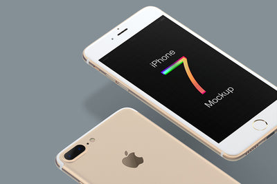 Multicolor iPhone 7 Mockup Space Gray, Black and Gold White