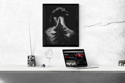 Interior Poster or Frame Mockup with Macbook Pro