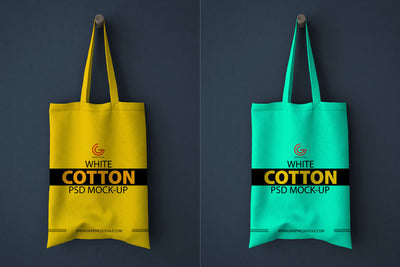 White Realistic Cotton Shopping Bag Mockup