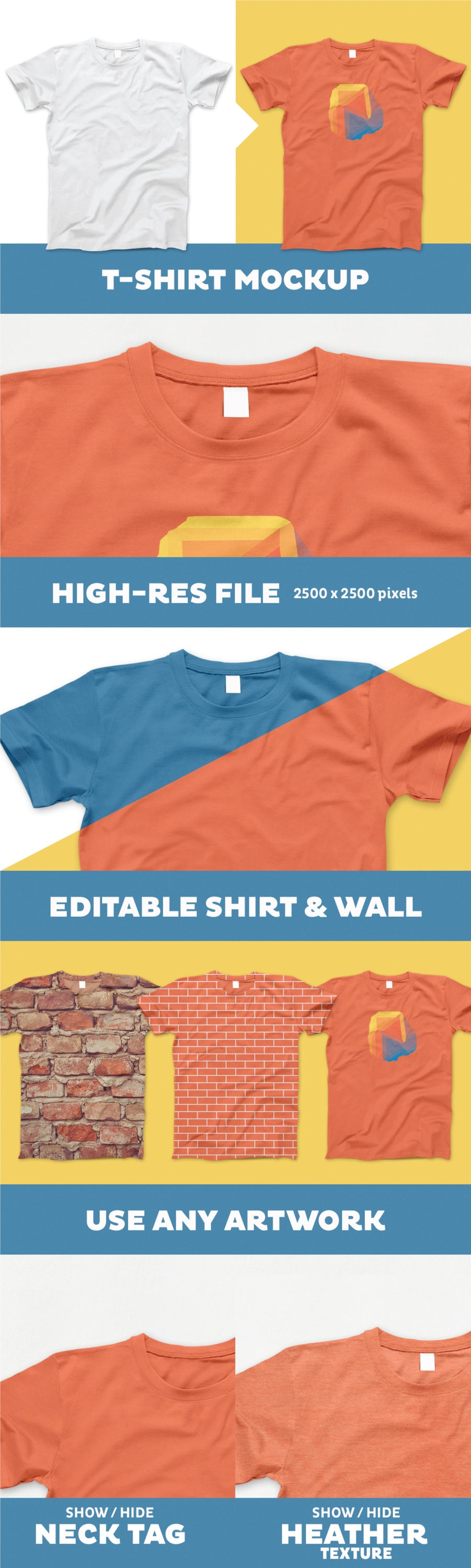 T-Shirt PSD Mockup with Realistic Effects d1e020ab3