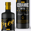 Black Ceramic Bottle PSD Mockup