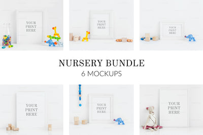 Children Styled Nursery Frame PSD Mockup