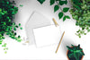 Fresh Greeting Card Mockup with Green Leaves and plants