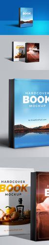 Hardcover Book Mockup PSD Side Angel View