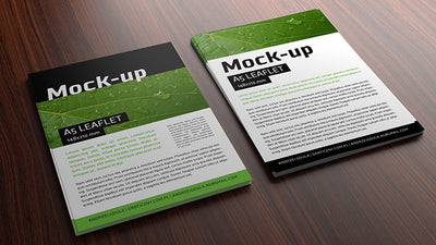 A5 Leaflet Mockup on a Realistic Wooden Surface