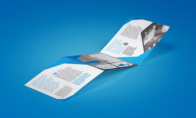 6 Angles of Trifold Square Brochure Mockup