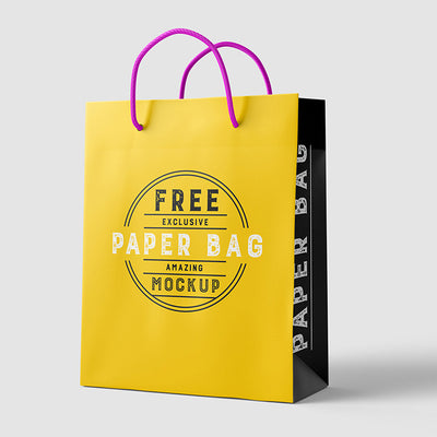 Simple and Clean Shopping Paper Bag Mockup with 2 Views