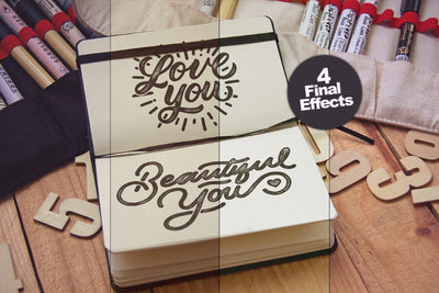 Artistic Notebook PSD Mockup with Effects