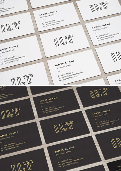 Perspective Business Cards MockUps on Table