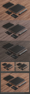 Business Scene with Business Card and Notebook Mockups