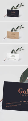 Realistic Business Card Mockup PSD with Leaf