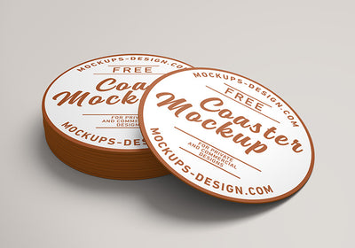 Round Coster Business Label Mockup