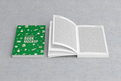 White Opened Softcover Book PSD Mockup