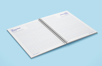 5 x Spiral Notebook Mockups (Multiple Views)