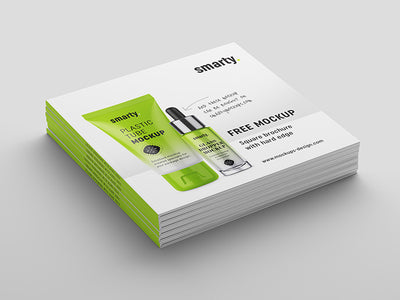 Square Brochure Book with Hard Edge Mockup