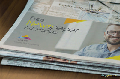Half Folded Newspaper Mockup