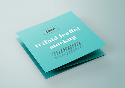 Collection of 5 Trifold Square Leaflet Mockups