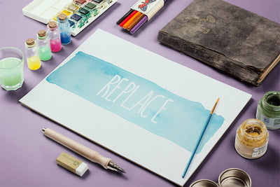 Watercolor Paint Paper or Canvas Mockup